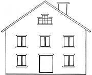 Coloriage charmante maison avec fenetres et chemine dessin