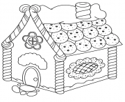 Coloriage maison en biscuits