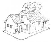 Coloriage maison pain depice noel neige dessin