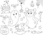 Halloween le deguisement de fantome dessin à colorier