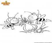 Gulli Maya et Willy adorent les fleurs dessin à colorier