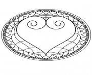 Mandala coeur 2 dessin à colorier