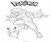 Sacha Pikachu et Rotom Dex dessin à colorier