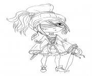 Pirate femme enfant dessin à colorier