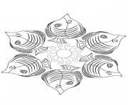 Mandala poisson dessin à colorier