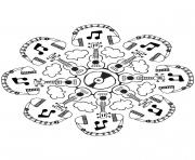 Mandala musique dessin à colorier