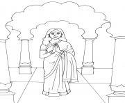 femme indien en inde bienvenue dessin à colorier