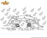 Maya et Willy contre la pluie dessin à colorier