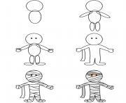 comment dessiner une momie dessin à colorier