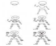 comment dessiner un squelette dessin à colorier