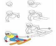comment dessiner ski de fond dessin à colorier
