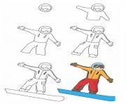 comment dessiner snowboard dessin à colorier