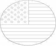 american drapeau in circle dessin à colorier