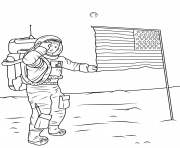 Coloriage neil armstrong on the moon