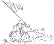raising the drapeau on iwo jima dessin à colorier