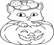 chat dans une citrouille halloween dessin à colorier