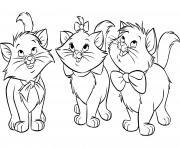 plusieurs chatons en famille dessin à colorier