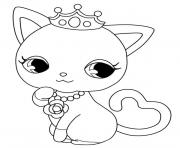 Coloriage chat princesse kawaii