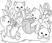 chaton mignon jouent dessin à colorier