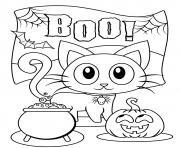 Halloween Boo Chat noir citrouille dessin à colorier