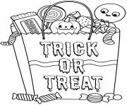 Halloween sac de friandises dessin à colorier