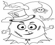 Halloween Monstre devant la Lune dessin à colorier