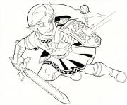 Coloriage Link The Legend of Zelda en action dessin