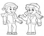 couple bien au chaud pour lautomne dessin à colorier