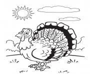 dinde avec un jolie soleil dessin à colorier