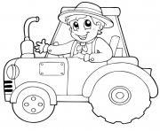 tracteur pour action de grace dessin à colorier