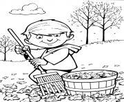 un enfant ramasse les feuilles automne dessin à colorier