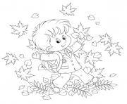 enfant joyeux de feter action de grace dessin à colorier