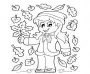 fille feuilles automne dessin à colorier