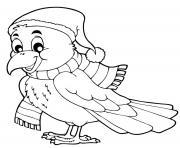 oiseau bein au chaud automne dessin à colorier