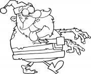 le pere noel est un zombie dessin à colorier