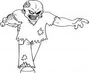 zombie epeurant avec un oeil sorti dessin à colorier