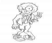 zombi qui fait un signe de la paix dessin à colorier