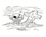 zombie mort vivant sort de son cercueil dessin à colorier