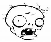 tete de zombie du jeu plantszombie dessin à colorier