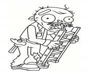 zombie avec un escalier dessin à colorier