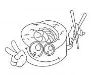 sushi kawaii dessin à colorier