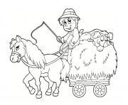 fermier avec le poney dessin à colorier