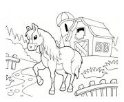 Coloriage poney a la ferme