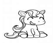 Coloriage poney souriant et cute