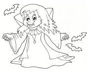 fille vampire halloween dessin à colorier