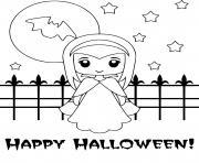 Coloriage garcon en vampire pour halloween avec citrouille dessin