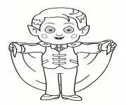 enfant deguise en vampire dessin à colorier