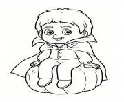 enfant vampire sur une citrouille halloween dessin à colorier