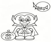 vampire halloween citrouille lune dessin à colorier