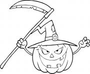 citrouille halloween avec chapeau de sorciere dessin à colorier